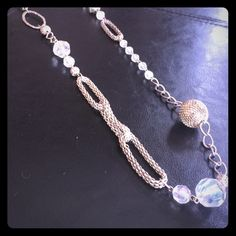Silver & clear beaded necklace Fun long silver and clear beaded necklace! Lightly worn Jewelry Necklaces