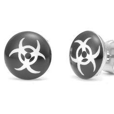 R&B Joyas - Pendientes de hombre, pendientes de botón símbolos peligro de muerte, acero inoxidable, color plateado / negro / blanco: Amazon.es: Joyería