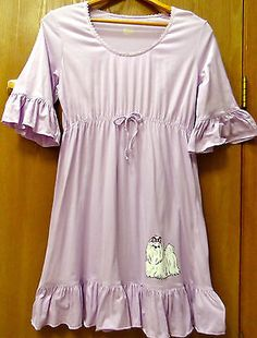 "HUE Junior Size XL White ""shih tzu"" Puppy Lavender Gown Lounge Dress"