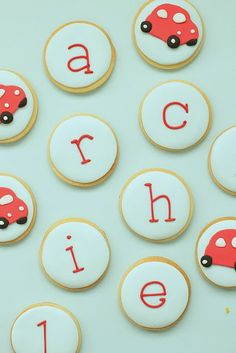 Little boys love red cars. Red car cookies...a great idea for a party.