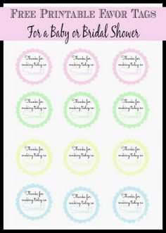 Free printable thank you tags to use for a bridal shower, baby shower, or girl's night from playpartypin.com
