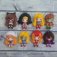12 pcs Super Heroes Girl Polymer Clay