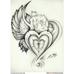Broken Heart with Wings Tattoo | Tattoos / wing heart lock rose tattoo - Polyvore