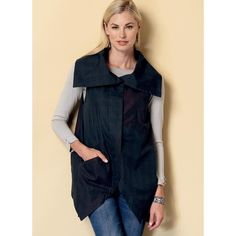 Butterick B6381 Sewing Pattern - Misses' Collared Vests with Asymmetrical Hems - CraftStash