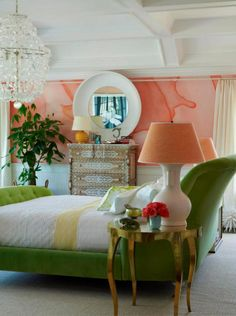 Gorgeous master bedroom by Robert Passal Interiors - the futon watercolor mural by Black Crow Studios and the green apple velvet bed Robert designed for Savior Beds are my faves.