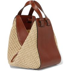 Loewe Hammock leather and raffia tote (6.113.930 COP) ❤ liked on Polyvore featuring bags, handbags, tote bags, zipper tote, brown leather tote bag, brown leather crossbody, woven leather tote and brown leather purse