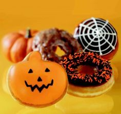 Donuts decorated for Halloween!