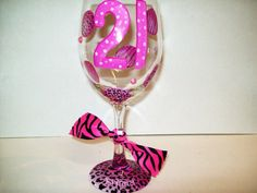 cute 21st birthday glass