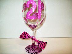 cute 21st birthday glass