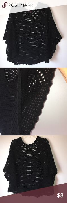 Black crotchet shawl  Beautiful black crotchet shawl in excellent condition bundle and save  Takeout Tops