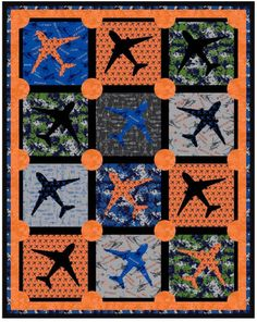 """~ free pattern ~ """"Ready to Take Off"""" quilt, 68 x 86"""".  Designed by Whistler Studios for the Flyboy Collection by Rosemarie Lavin at Windham Fabrics"""