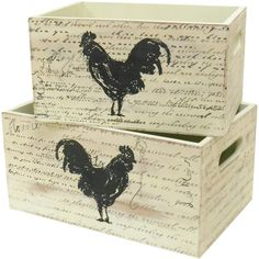 Evoking the charm of rustic cabins and countryside farmhouses, this eye-catching design brings a touch of country-chic style to your home dcor. Product: Small and large crate Construction Material: Wood Color: Ivory Dimensions: H x W x D Rooster Kitchen Decor, Rooster Decor, Rooster Art, Decoupage, Chicken Home, Chicken Chick, Country Decor, Country Chic, Chickens And Roosters
