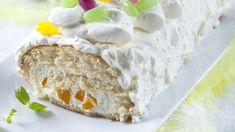 Aprikoosi, sitruuna ja minttu maistuvat pääsiäisen kääretortussa. Kääretorttu on helppo ja nopea valmistaa. Tämäkin resepti vain n. 0,85€/annos*. Feta, Camembert Cheese, Special Occasion, Dairy, Pie, Baking, Desserts, Halloween, Torte