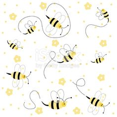 Seamless pattern with bees royalty-free seamless pattern with bees stock vector art & more images of animal Bee Invitations, Pattern Sketch, I Love Bees, Bee Cards, Stamp Printing, Animals Images, Free Vector Art, Pattern Paper, Cool Art