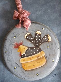 Primitive Plates, Chicken Crafts, Mixed Media Canvas, Crafts To Sell, Pottery, Tableware, Painting, Things To Sell, Kettle