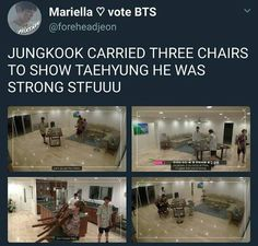 "I SWEAR THIS KID WAS ON SOME SHIT HE WAS SO FUCKING HYPER HE CARRIED THREE CHAIRS AND THEN HE PICKS UP AND BOUNCES HOBI WHOS JUST OVER 140 POUNDS LIKE HE WAS BEATING TAE W A ""FAN"" (I THINK SOME PAPER OR SOMETHIN) AND IDEK YA JUST NEED TO SEE IT FOR YOURSELF"