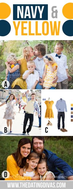 What to Wear for Family Pictures Navy and Yellow