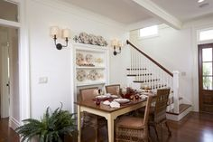 LOVE this beadboard and how light and bright this dining room is!