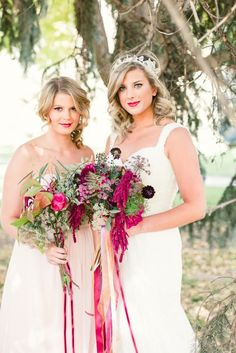 blush bridesmaid look with deep hued bouquet #bridesmaid #weddinghair #weddingchicks http://www.weddingchicks.com/2014/02/13/romance-in-the-woods-wedding-inspiration/
