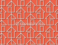 Line of houses on pink background Abstract Pattern, Graphics, Stock Photos, Illustration, Pink, Graphic Design, Illustrations, Printmaking, Pink Hair