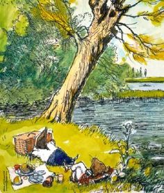 E H Shepard illustration for Wind in the Willows - and more picnic pics in the blog post...