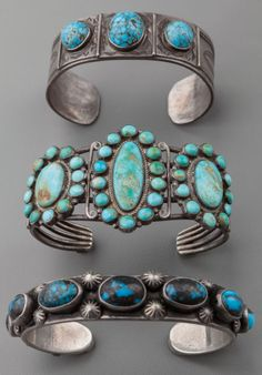American Indian Art:Jewelry and Silverwork, THREE SOUTHWEST SILVER AND TURQUOISE BRACELETS...