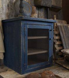RUSTIC - SMALL PIE SAFE in BLUE PAINT.