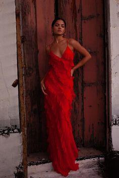 Cecelia Dress - Red maxi dress with frill detail – Rat & Boa USA Selena Dresses, Prom Dresses, Summer Dresses, Red Dress Prom, Red Dress Outfit, The Dress, Red Slip Dress, Maxi Chiffon, Red Maxi