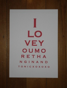 Eye Chart Art - I Love You More Than Gin and Tonic.