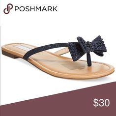 Inc sparkly beaded bow flip flop Eclipse color. It's a dark black blue color INC International Concepts Shoes Sandals