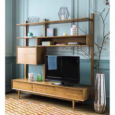 Étagère meuble TV vintage en chêne massif L 180 cm Portobello | Maisons du Monde