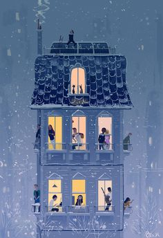 / when the snow falls / by pascal campion / illustration / night / Art And Illustration, Book Illustrations, Graffiti Kunst, Poster Photo, Pascal Campion, Art Watercolor, Art Inspo, Art Drawings, Cool Art