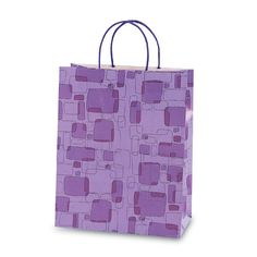 10 1/2W x 13H x 5 1/2G Large Printed savvy purple boxey bag Gift Bag/Case of 60