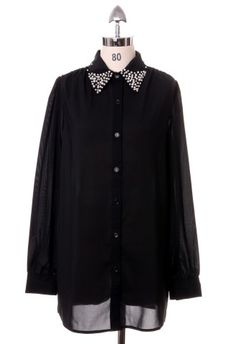 Pearly Collar Shirt in Black