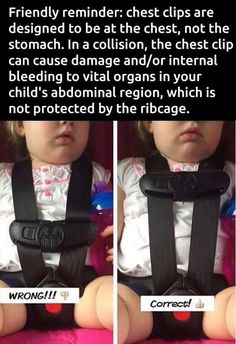 Proper chest-clip position for child car seat safety.