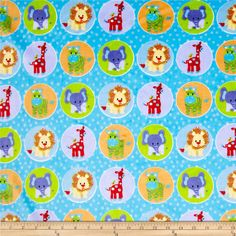 Minky Circus Animal Blue from @fabricdotcom  This unbelievably soft and luxurious 3mm pile minky cuddle fabric is perfect for making the ultimate minky blanket, throws, cuddly toys, lounge wear, quilt backing, and baby accessories! Colors include cream, brick red, light blue, orange and blue.