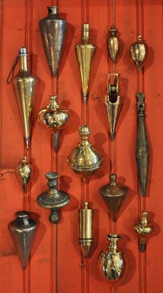 Collection of plumb bobs.
