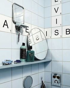 Scrabble tiled bathroom! This would be great for the boys bathroom! So much fun