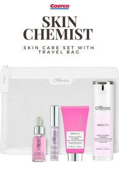 Skin Chemist Skin Care Set with Travel Bag includes the Rose Quartz Mineral Night Moisturiser + Rose Quartz Mineral Day Moisturiser 50ml + Rose Quartz Lip Plump + Rose Quartz Age Defence Youth Facial Oil 15ml