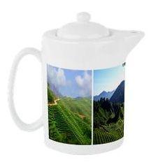 teapot with scenic tea fields goes nice with mug $29.99