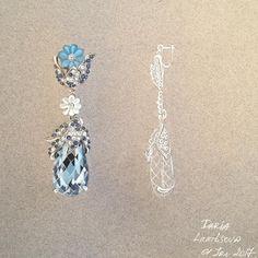 "13 Likes, 1 Comments - Daria Lamtsova (@lamtsova_jewelry_rendering) on Instagram: ""Gouache hand rendering copy of the Alaghband earrings. #rendering, #gouacherendering…"""