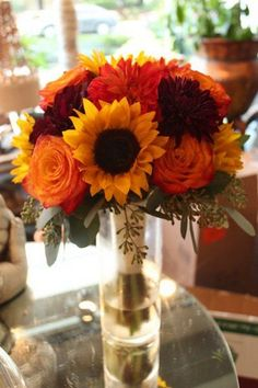 Rustic Burgundy Gold Orange Purple Bouquet Dahlia Fall Rose Sunflower Wedding / http://www.himisspuff.com/fall-wedding-bouquets-for-autumn-brides/9/