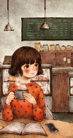 coffee, wallpaper, and cute image - manga - Coffee Cartoon Kunst, Cartoon Art, Art And Illustration, Cute Wallpaper Backgrounds, Cute Wallpapers, Fantasy Kunst, Fantasy Art, Reading Art, Image Manga