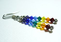 Chakra Color Crystal Earrings by lilearringshoppe on Etsy