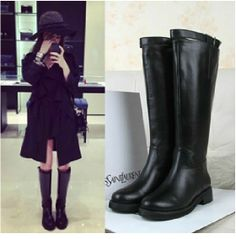 New leather boots high boots female Knight boots ugg boots small mouth choking pepper boots #zarmark