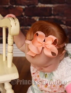 Dainty Peach Baby Infant  Headband