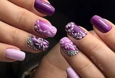 Inspiring 2020 art designs for spring 2020 simple nail art Sexy Nails, Classy Nails, Stylish Nails, Fabulous Nails, Gorgeous Nails, Pretty Nails, Purple Nails, Gold Nails, French Manicure Designs