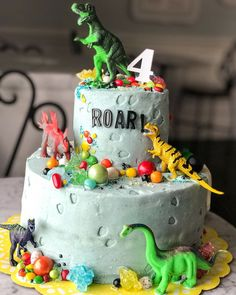 45 ideas dinosaur birthday party 3 year old for 2020 Dinosaur Birthday Cakes, 4th Birthday Cakes, Dinosaur Cake, Dinosaur Party, 2nd Birthday, 3 Year Old Birthday Party Boy, Birthday Themes For Boys, Birthday Cake Kids Boys, Dino Cake