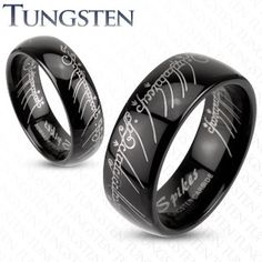 Lord of the Tungsten Men Women Gold Lotr Wedding Ring Band Piercing Plug, Faux Piercing, Silver Wedding Bands, Wedding Rings, The Lord Of The Rings, Silver Lockets, Tungsten Carbide, Black Rhodium, One Ring