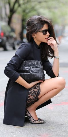 Black + lace accents.